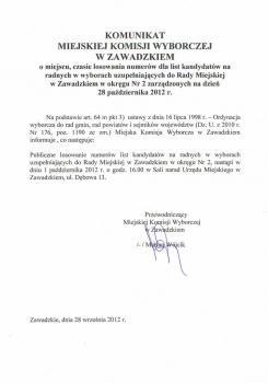 Komunikat Miejskiej Komisji Wyborczej o miejscu i czasie losowania numerów dla list kandydatów na radnych w wyborach uzupełniających do Rady Miejskiej w Zawadzkiem.jpeg